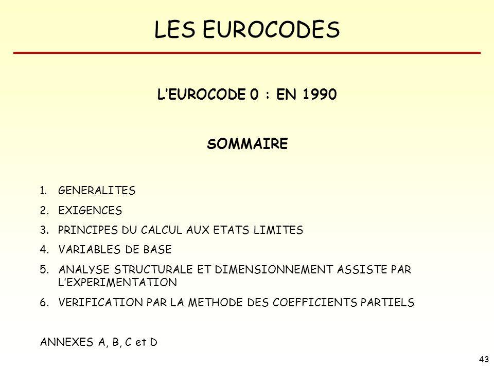 L'EUROCODE 0 : EN 1990 SOMMAIRE