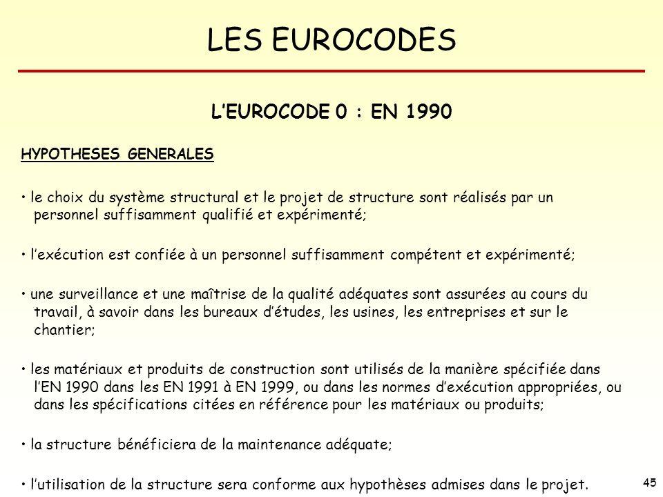 L'EUROCODE 0 : EN 1990 HYPOTHESES GENERALES
