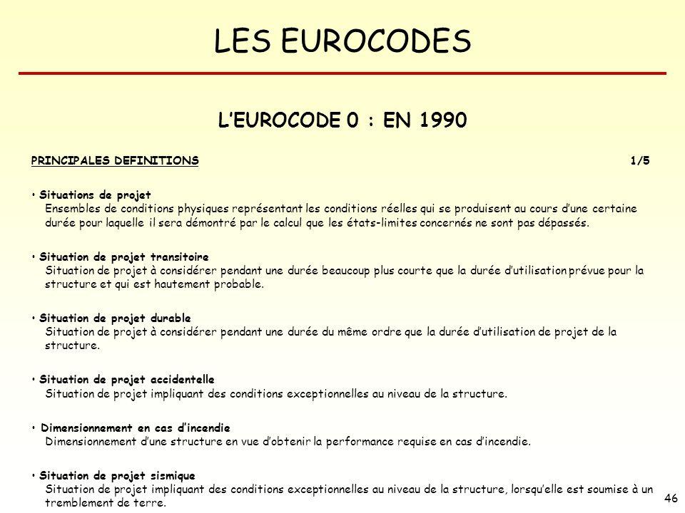 L'EUROCODE 0 : EN 1990 PRINCIPALES DEFINITIONS 1/5