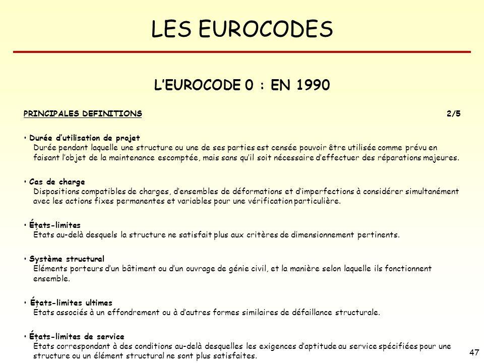 L'EUROCODE 0 : EN 1990 PRINCIPALES DEFINITIONS 2/5