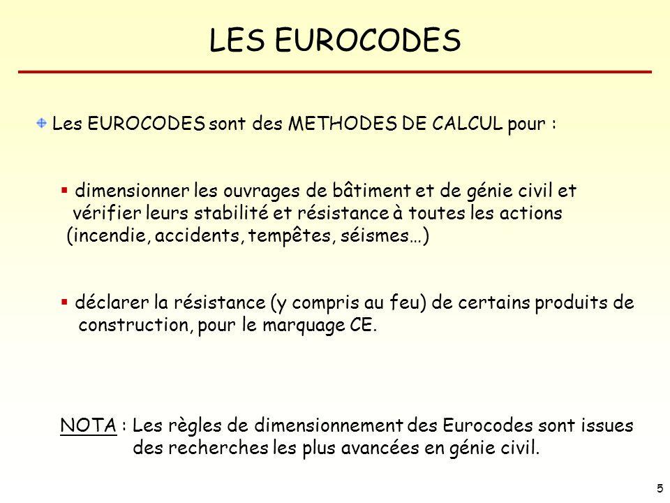 Les EUROCODES sont des METHODES DE CALCUL pour :