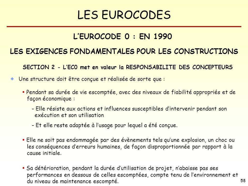 L'EUROCODE 0 : EN 1990 LES EXIGENCES FONDAMENTALES POUR LES CONSTRUCTIONS. SECTION 2 - L'EC0 met en valeur la RESPONSABILITE DES CONCEPTEURS.