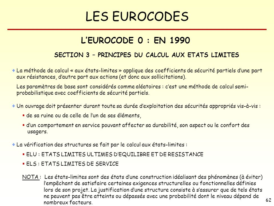 SECTION 3 – PRINCIPES DU CALCUL AUX ETATS LIMITES