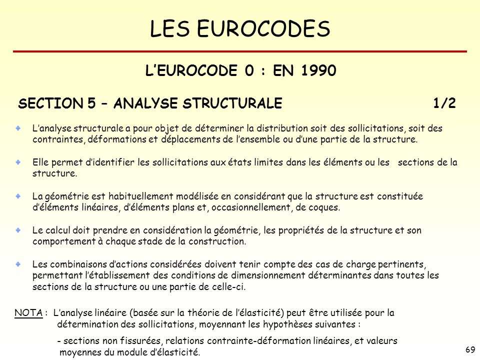 L'EUROCODE 0 : EN 1990 SECTION 5 – ANALYSE STRUCTURALE 1/2