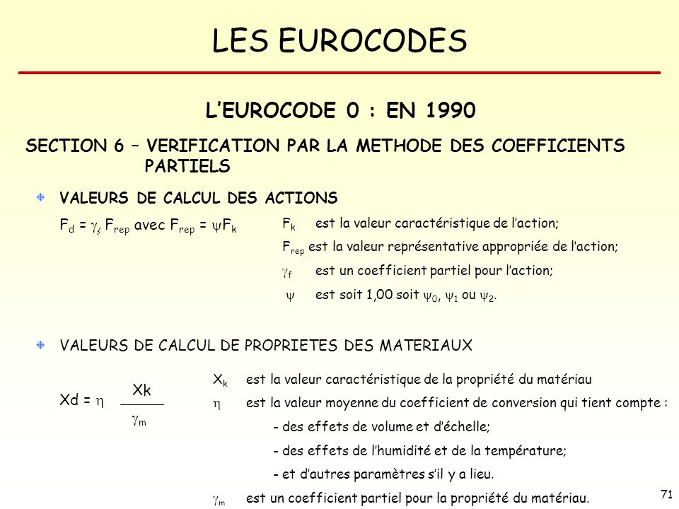 L'EUROCODE 0 : EN 1990 SECTION 6 – VERIFICATION PAR LA METHODE DES COEFFICIENTS PARTIELS. VALEURS DE CALCUL DES ACTIONS.