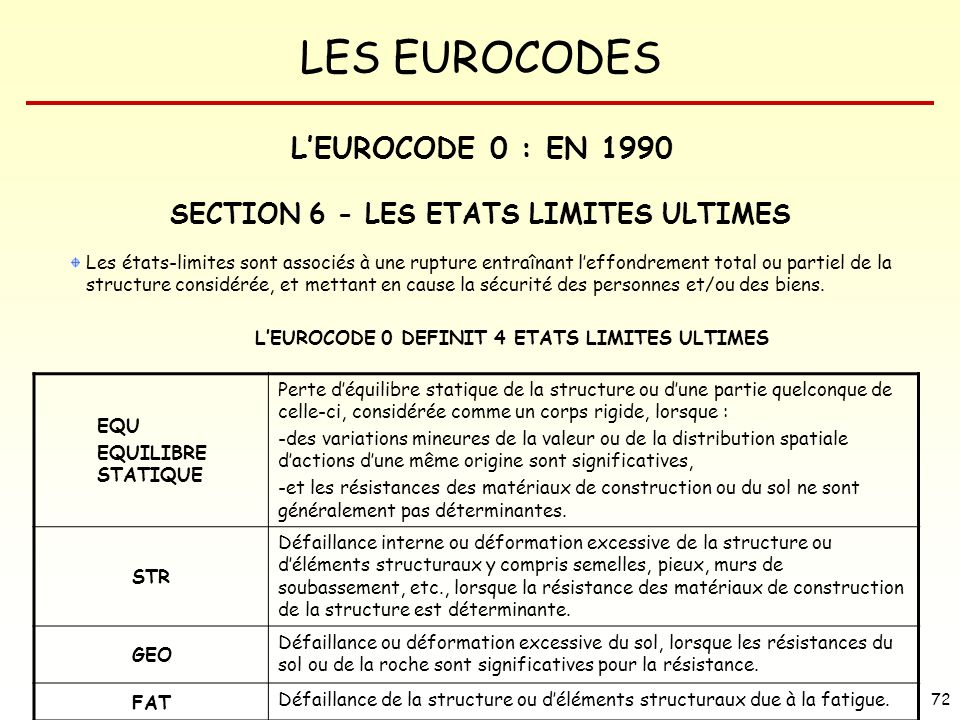 L'EUROCODE 0 : EN 1990 SECTION 6 - LES ETATS LIMITES ULTIMES EQU