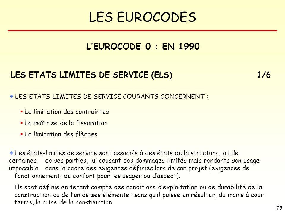 L'EUROCODE 0 : EN 1990 LES ETATS LIMITES DE SERVICE (ELS) 1/6