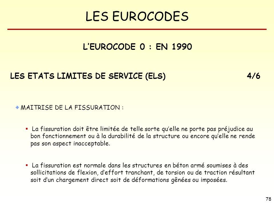 L'EUROCODE 0 : EN 1990 LES ETATS LIMITES DE SERVICE (ELS) 4/6