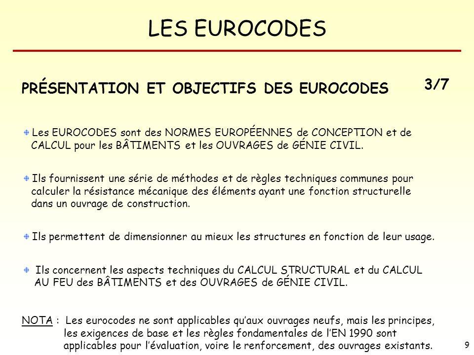 PRÉSENTATION ET OBJECTIFS DES EUROCODES 3/7