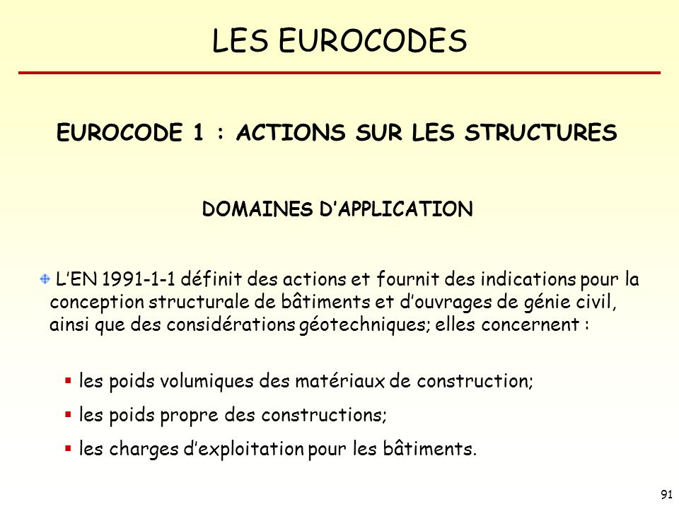 EUROCODE 1 : ACTIONS SUR LES STRUCTURES DOMAINES D'APPLICATION