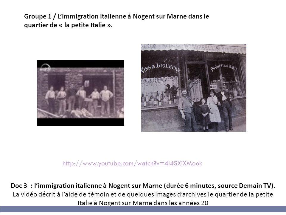Groupe 1 / L'immigration italienne à Nogent sur Marne dans le quartier de « la petite Italie ».