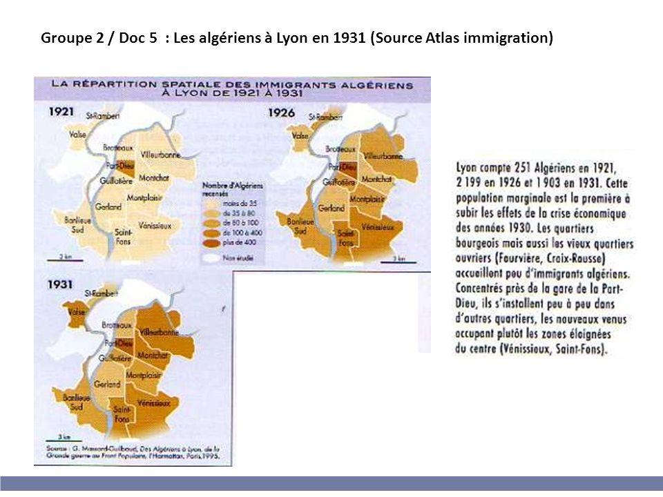 Groupe 2 / Doc 5 : Les algériens à Lyon en 1931 (Source Atlas immigration)