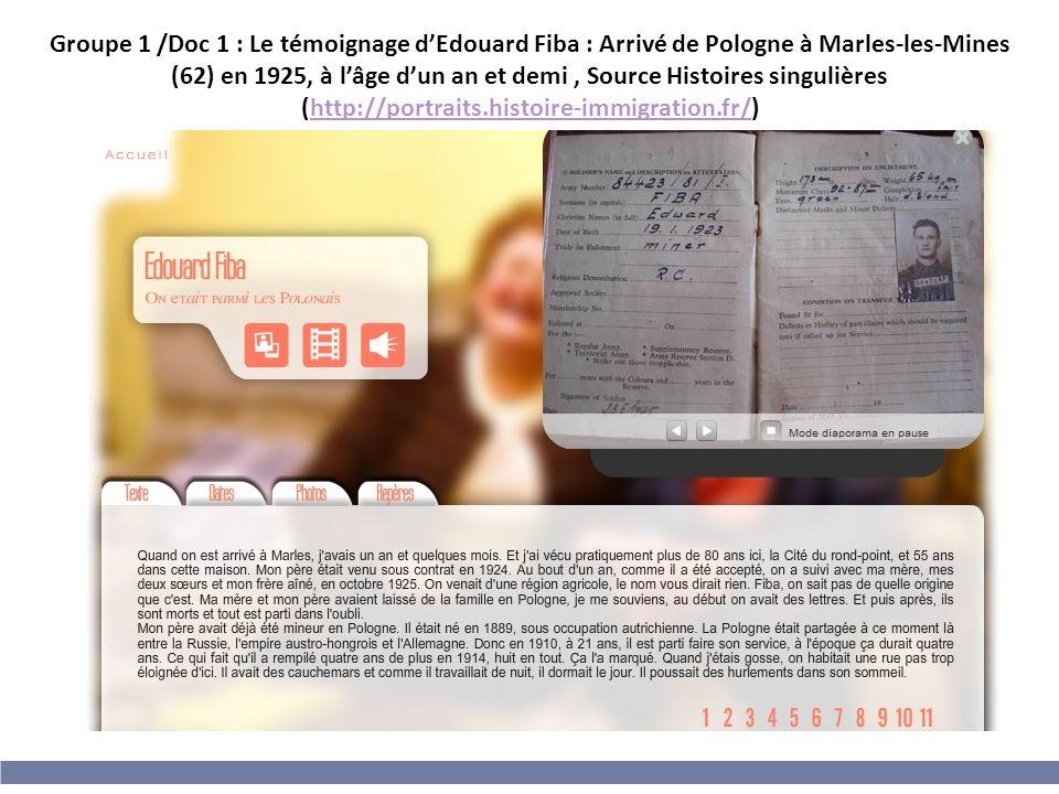 Groupe 1 /Doc 1 : Le témoignage d'Edouard Fiba : Arrivé de Pologne à Marles-les-Mines (62) en 1925, à l'âge d'un an et demi , Source Histoires singulières (http://portraits.histoire-immigration.fr/)