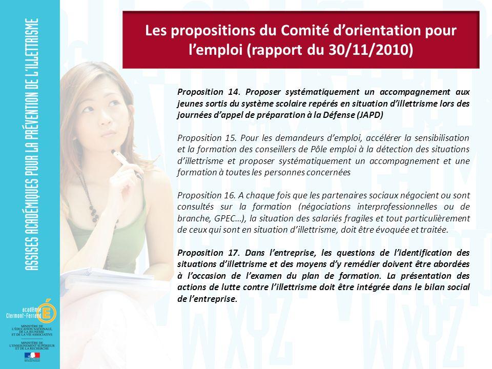 Les propositions du Comité d'orientation pour l'emploi (rapport du 30/11/2010)