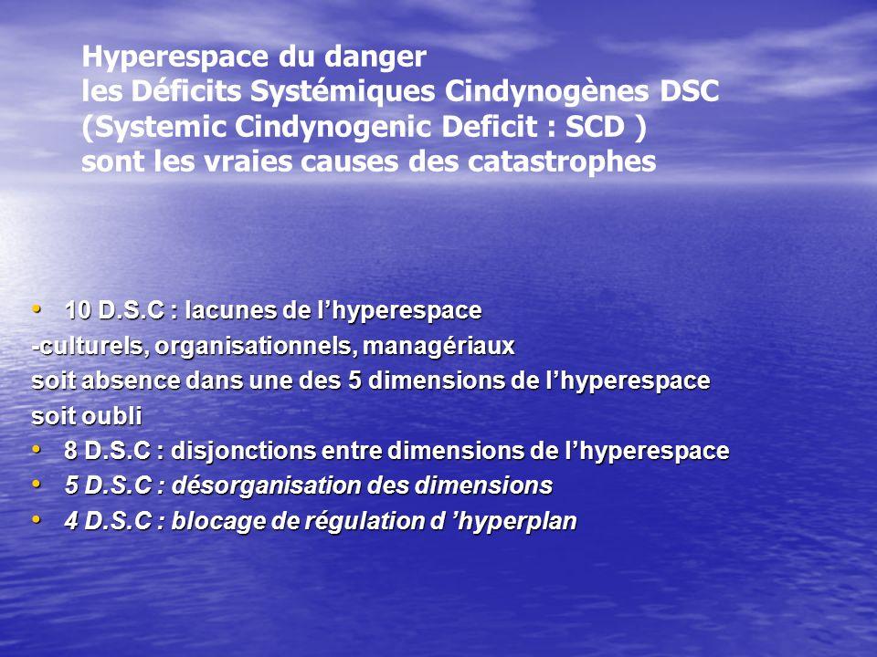 Hyperespace du danger les Déficits Systémiques Cindynogènes DSC (Systemic Cindynogenic Deficit : SCD ) sont les vraies causes des catastrophes