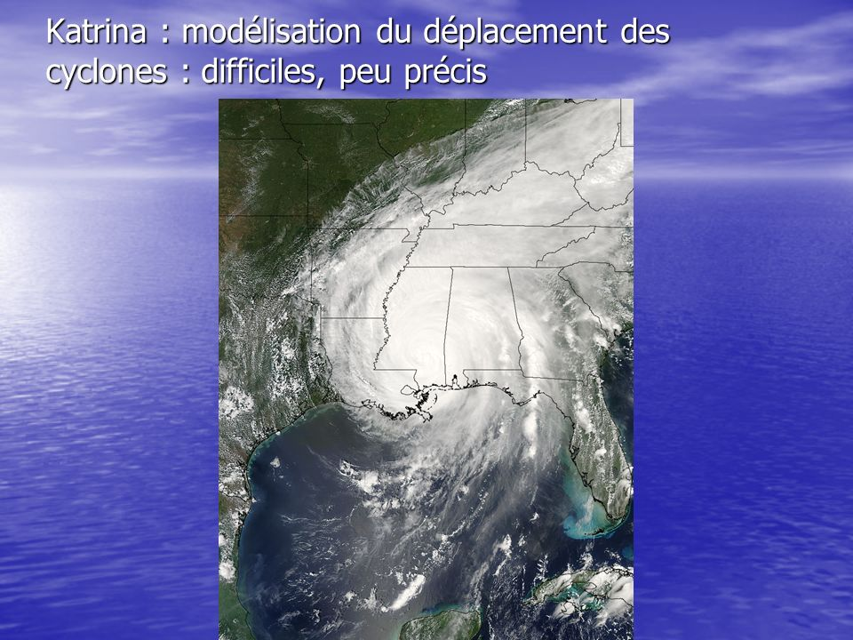 Katrina : modélisation du déplacement des cyclones : difficiles, peu précis