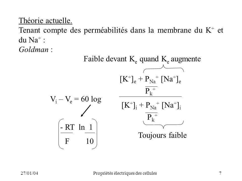 Tenant compte des perméabilités dans la membrane du K+ et du Na+ :