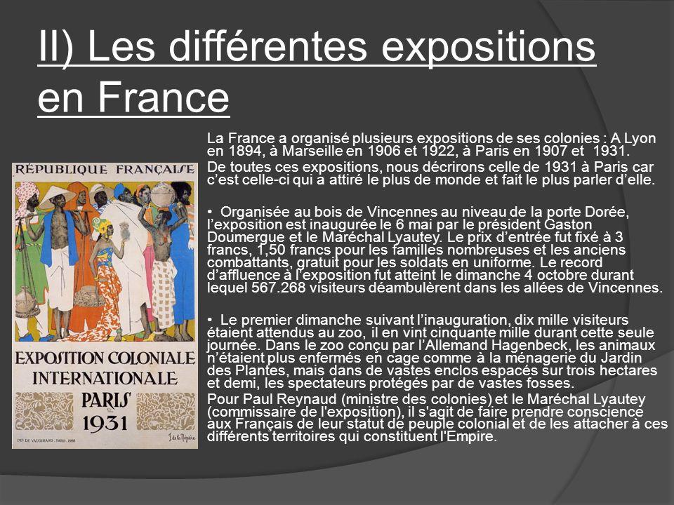 II) Les différentes expositions en France