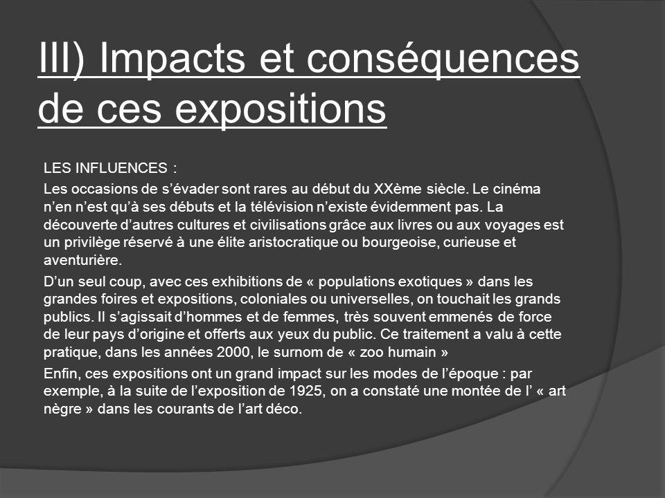 III) Impacts et conséquences de ces expositions
