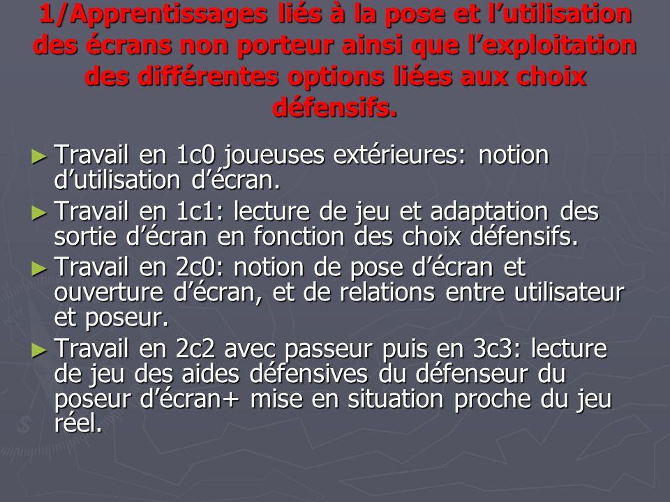 1/Apprentissages liés à la pose et l'utilisation des écrans non porteur ainsi que l'exploitation des différentes options liées aux choix défensifs.