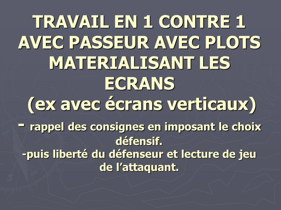 TRAVAIL EN 1 CONTRE 1 AVEC PASSEUR AVEC PLOTS MATERIALISANT LES ECRANS (ex avec écrans verticaux) - rappel des consignes en imposant le choix défensif.