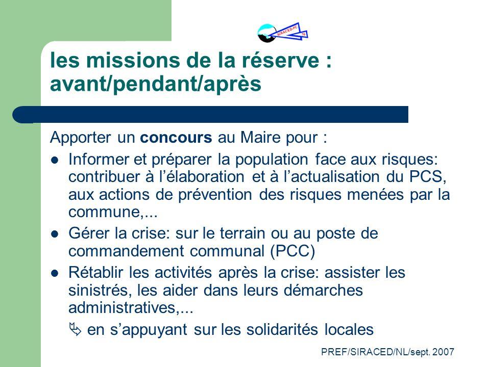les missions de la réserve : avant/pendant/après