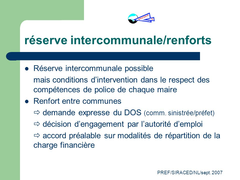 réserve intercommunale/renforts