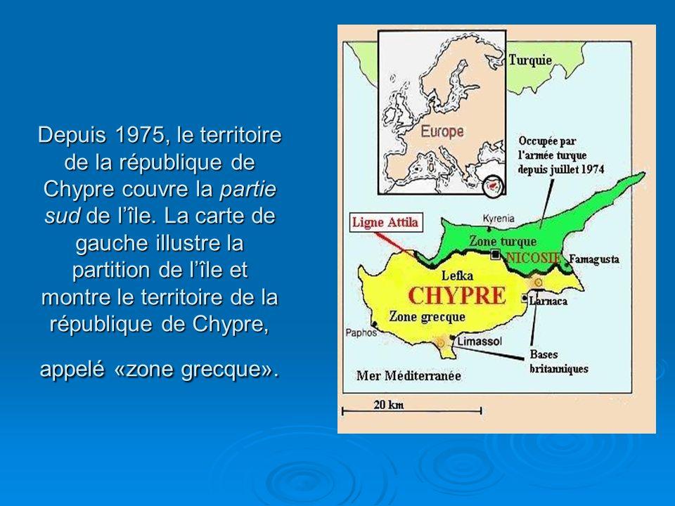 Depuis 1975, le territoire de la république de Chypre couvre la partie sud de l'île.