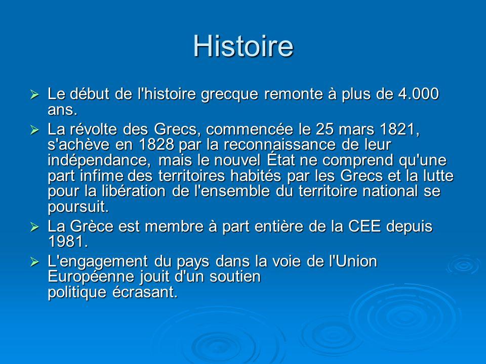 Histoire Le début de l histoire grecque remonte à plus de 4.000 ans.
