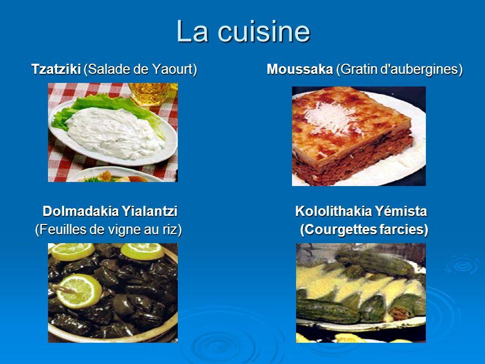 La cuisine Tzatziki (Salade de Yaourt) Moussaka (Gratin d aubergines)