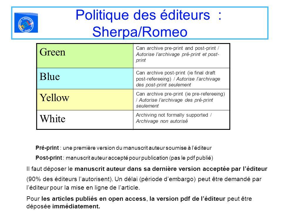 Politique des éditeurs : Sherpa/Romeo