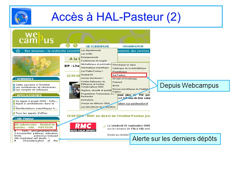 Accès à HAL-Pasteur (2) Depuis Webcampus