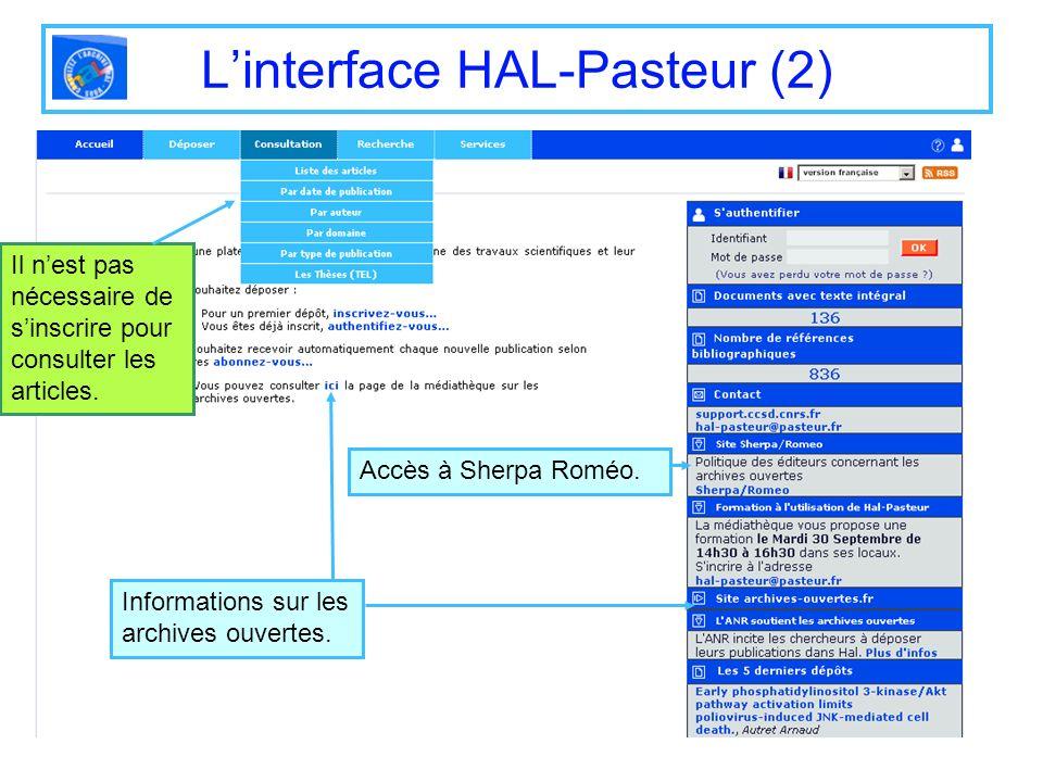 L'interface HAL-Pasteur (2)