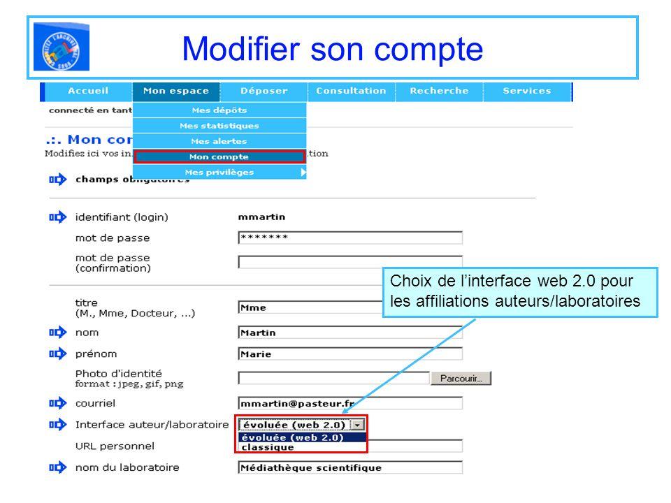 Modifier son compte Choix de l'interface web 2.0 pour les affiliations auteurs/laboratoires