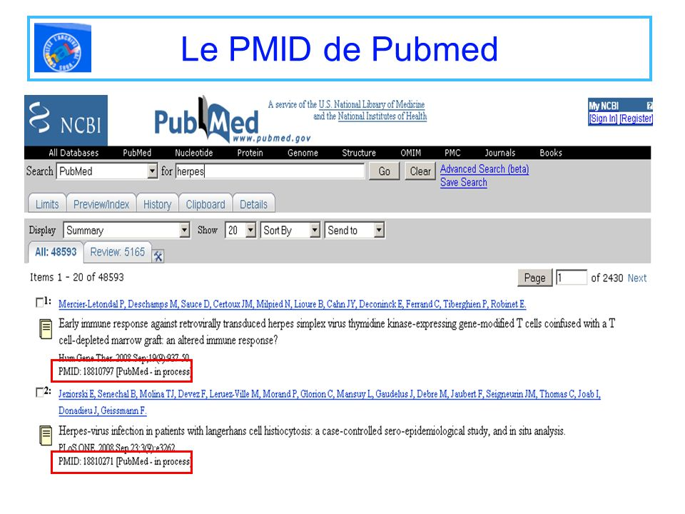 Le PMID de Pubmed