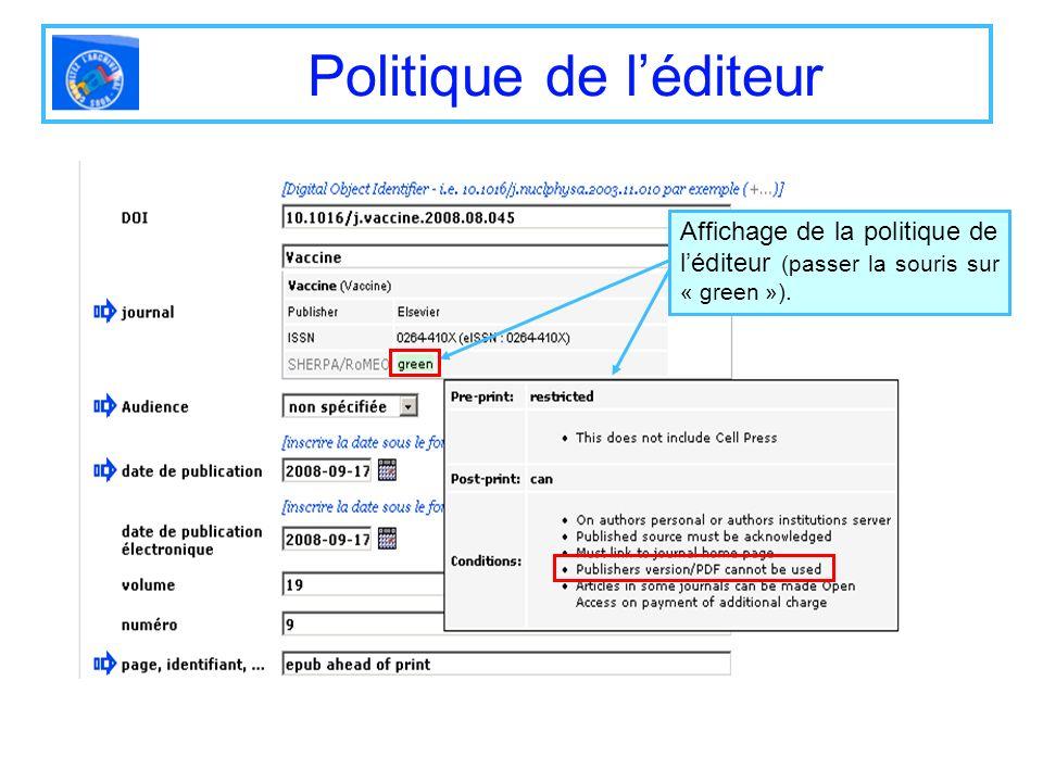 Politique de l'éditeur