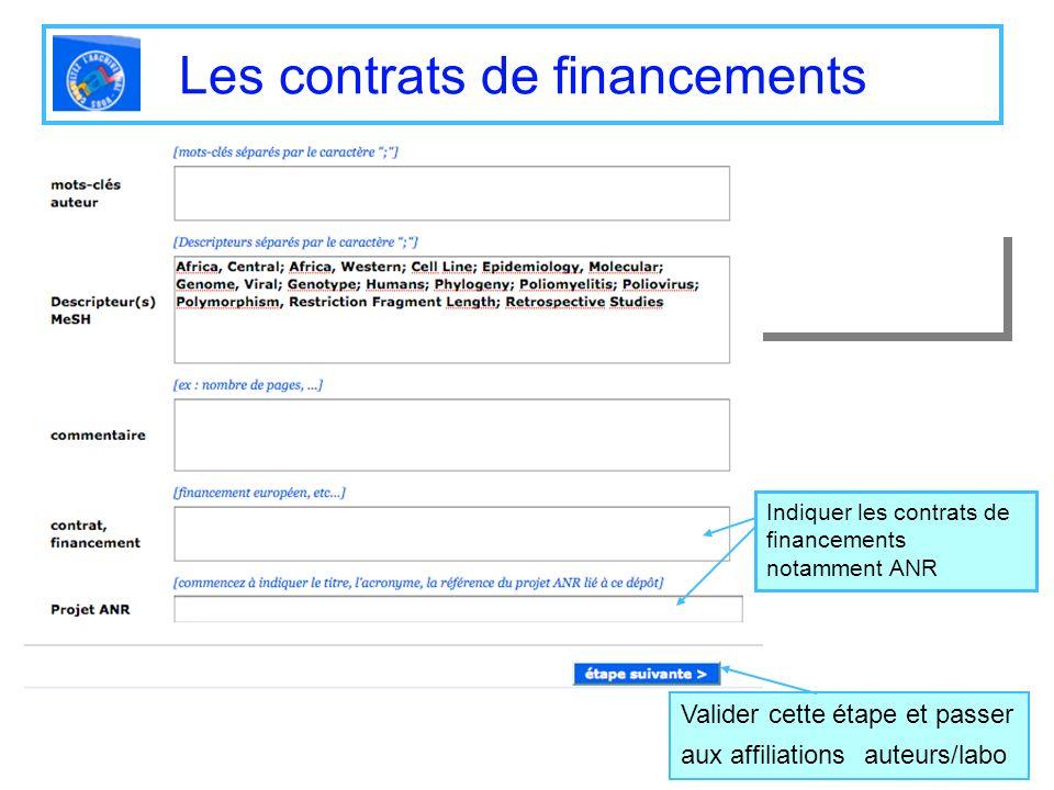 Les contrats de financements