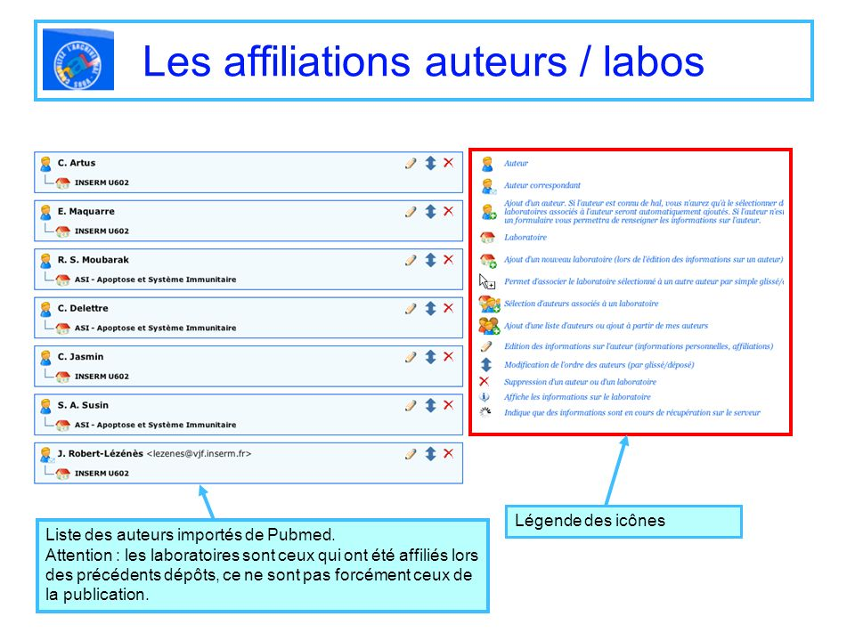 Les affiliations auteurs / labos