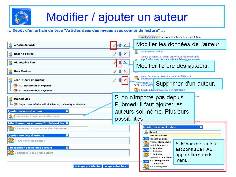 Modifier / ajouter un auteur