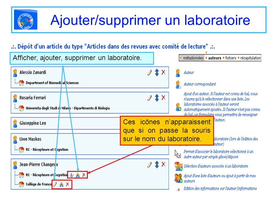 Ajouter/supprimer un laboratoire