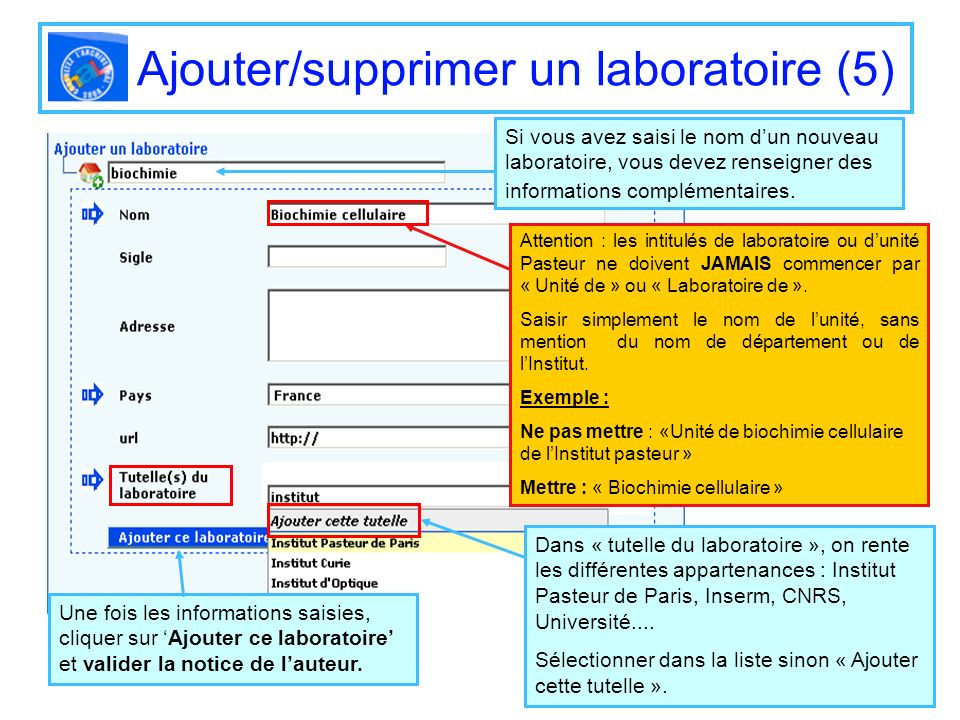 Ajouter/supprimer un laboratoire (5)