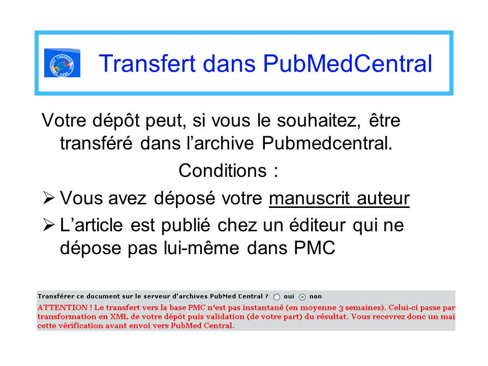 Transfert dans PubMedCentral