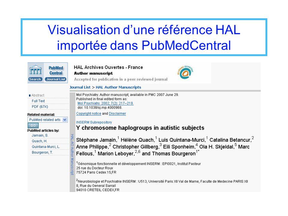 Visualisation d'une référence HAL importée dans PubMedCentral
