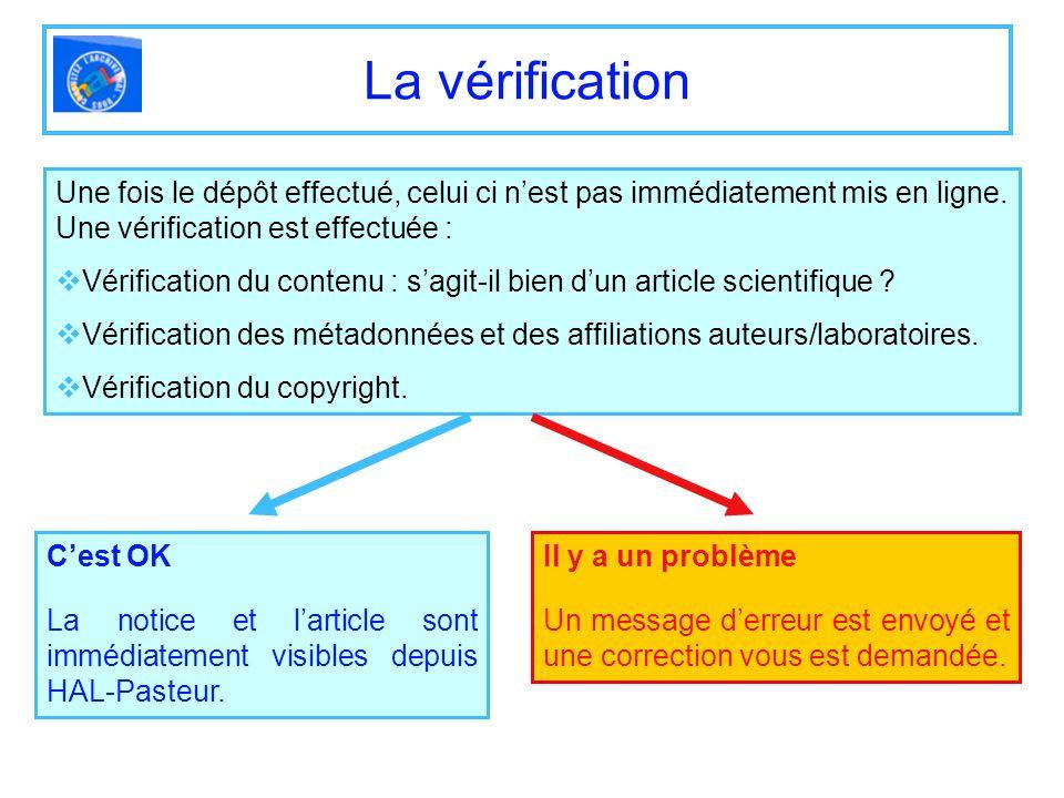La vérification Une fois le dépôt effectué, celui ci n'est pas immédiatement mis en ligne. Une vérification est effectuée :