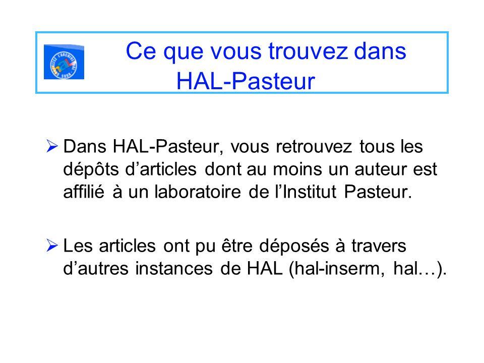 Ce que vous trouvez dans HAL-Pasteur