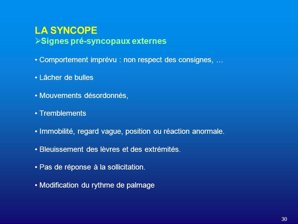 LA SYNCOPE Signes pré-syncopaux externes
