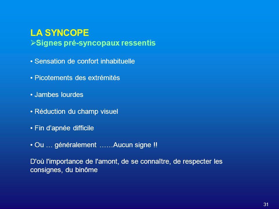 LA SYNCOPE Signes pré-syncopaux ressentis