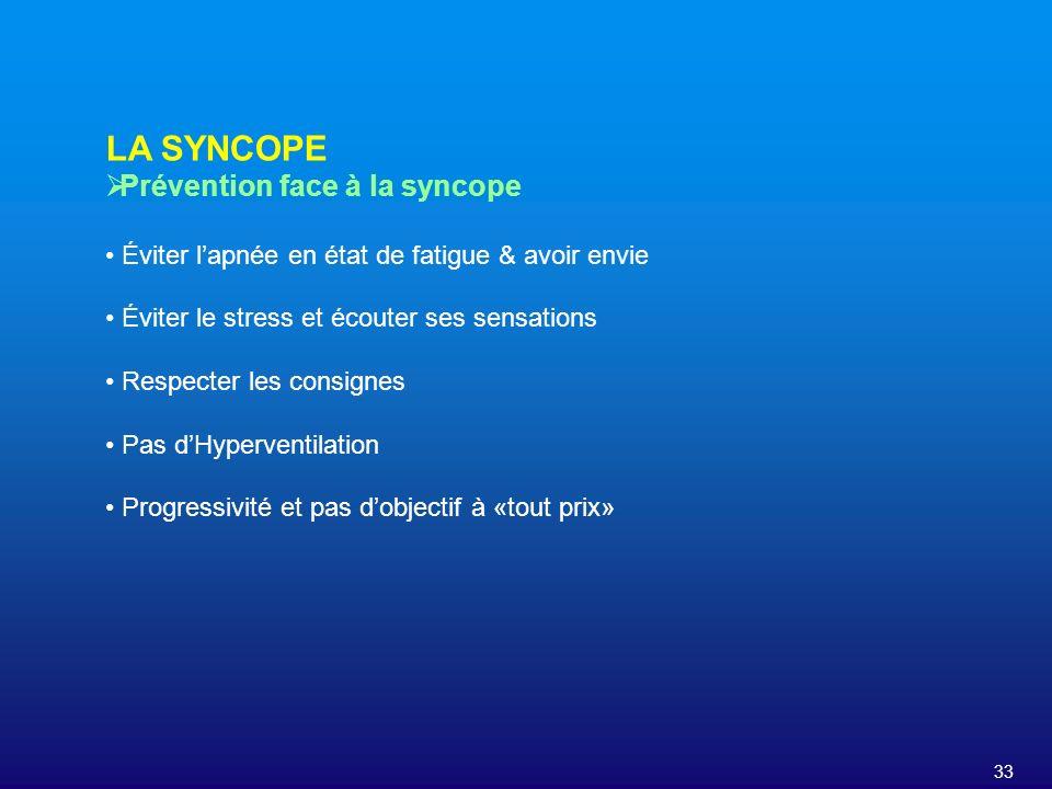 LA SYNCOPE Prévention face à la syncope