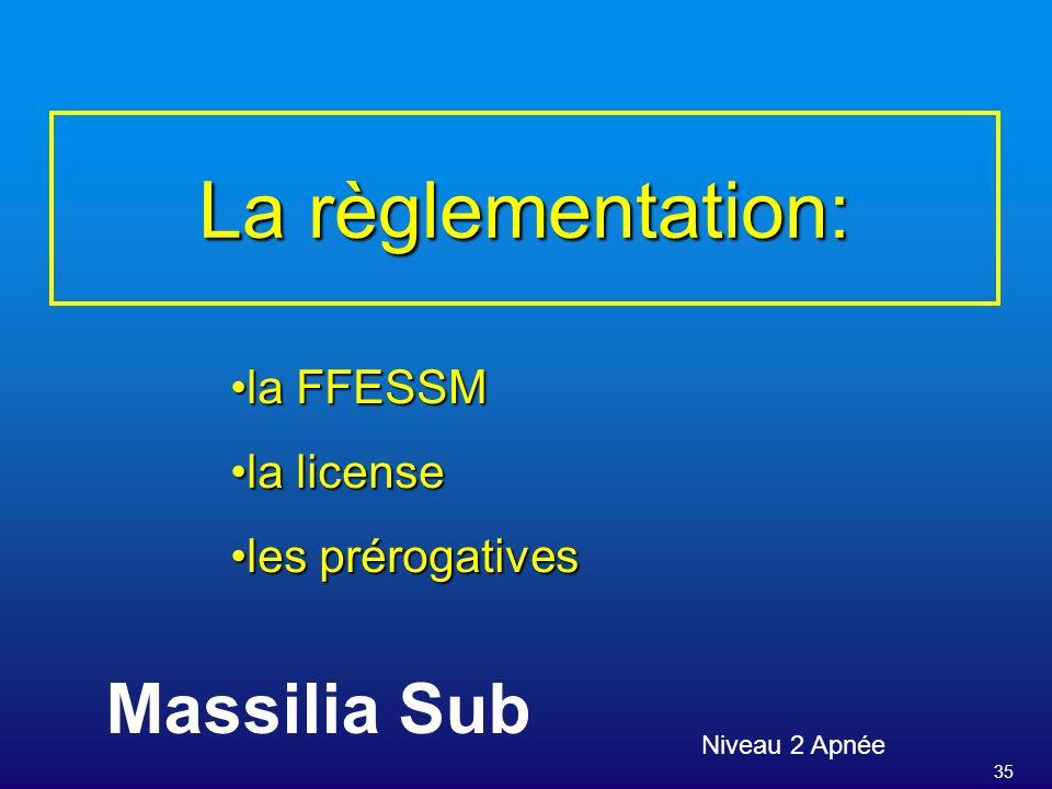 La règlementation: Massilia Sub la FFESSM la license les prérogatives