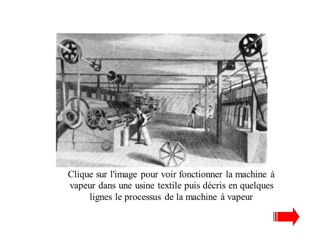 Clique sur l image pour voir fonctionner la machine à vapeur dans une usine textile puis décris en quelques lignes le processus de la machine à vapeur